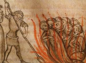 Verbrennung von Templern auf dem Scheiterhaufen